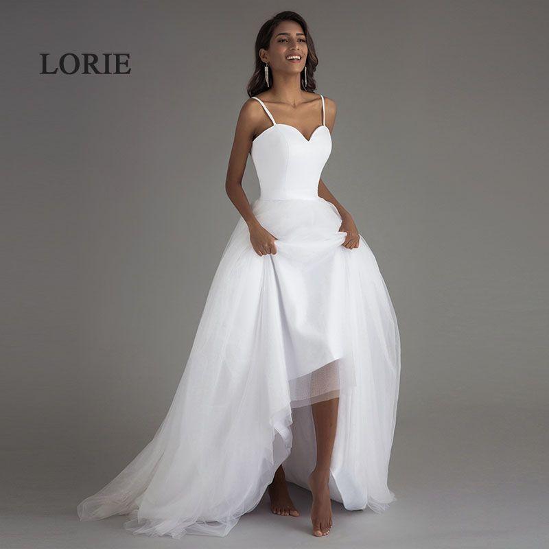 Spaghetti Strap Beach Wedding Dresses 2017 LORIE Vestido Noiva Praia Simple White Tulle Casamento Sashes Bridal Gown Custom Made