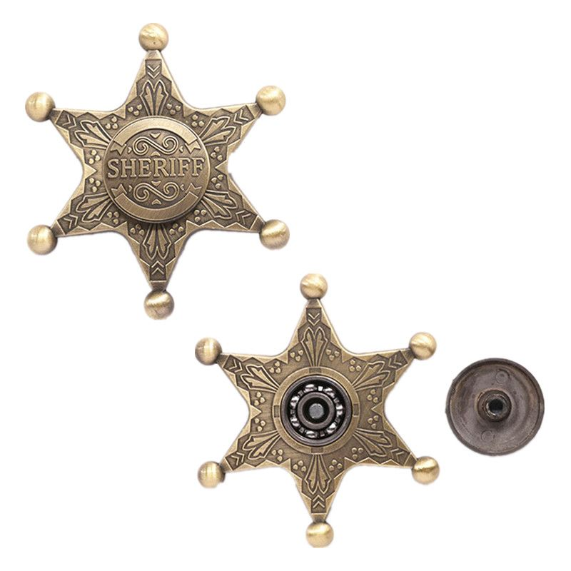 Fidget Mano Spinner Juguetes, Estrella Hexagonal Handspinner Juguete de Metal, Sheriff Capitán Fidget Hilanderos, Figdet Juguetes Para Adultos