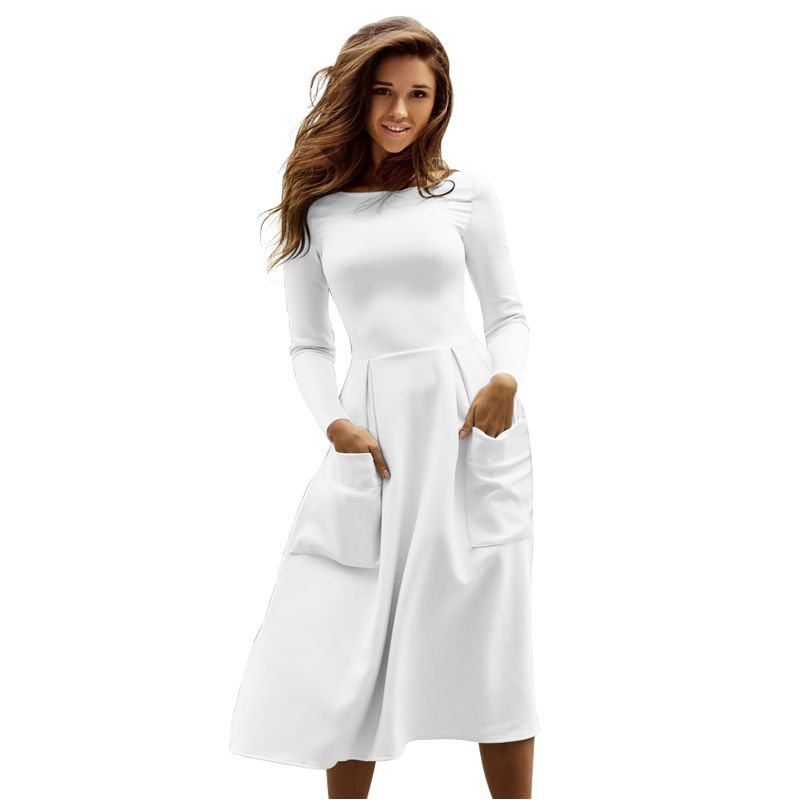 Winter Autumn Women s Casual Female Long Dresses Skater Dress Long Sleeve White Sexy Midi Dress Office Pleated Dress