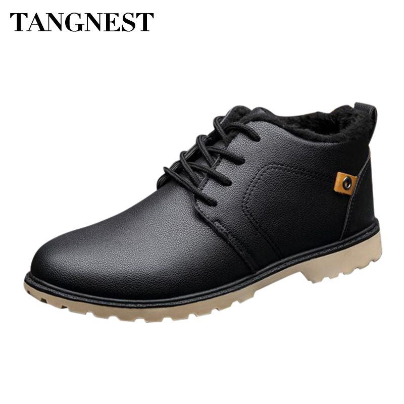 Tangnest Man's Solid Patchwork Charm Warm Plush Ankle Boots Men Handmade PU Leather Shoes Men 2017 New Winter Snow Boots XMX670