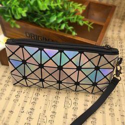 Mode Baru Berlian Kisi Wanita PU Clutch Amplop Tas Telepon Tas Dengan Zipper Wanita Kosmetik Tas Make up Storage