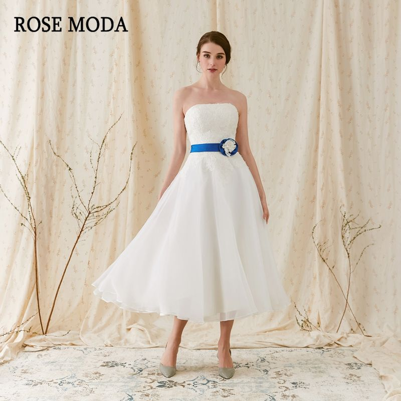 Rose Moda Strapless Beach Wedding Dress 2018 Short Wedding Dresses Tea Length with Lace Detachable Blue Sash Real Photos