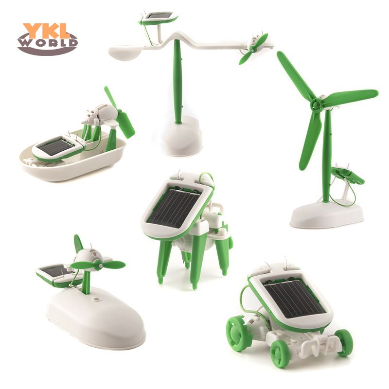 6 in 1 Solar Power Robot Kit DIY Assemble Gadget Airplane Boat Car Train Model Science Gift Toys for Boy Kids (S0