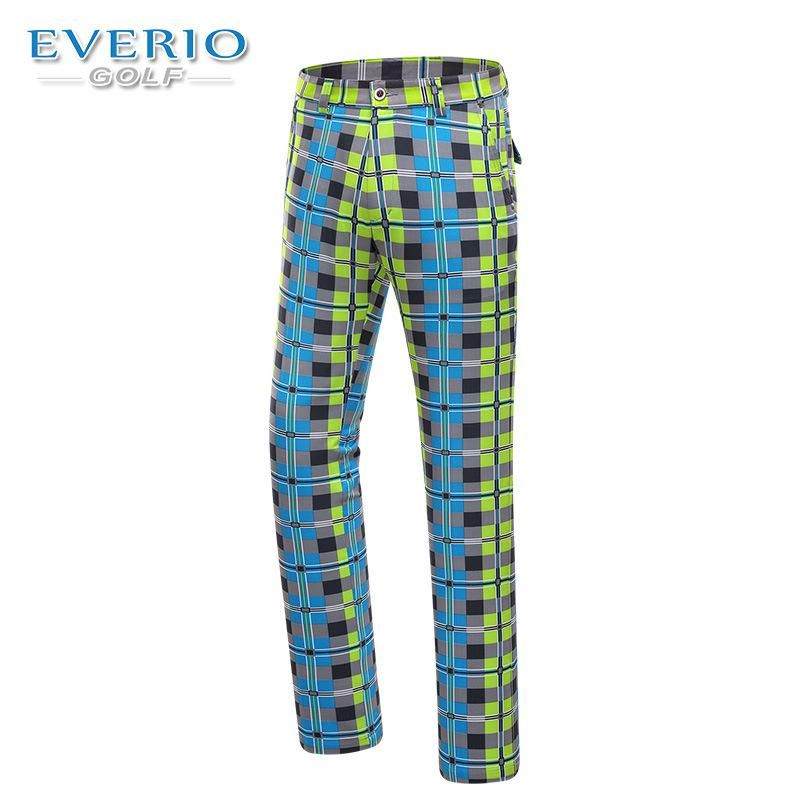EVERIO 2017 New Men's Golf Wear Quick-drying Spring Summer Authentic British plaid Thin Pants Golf Trousers Button Style