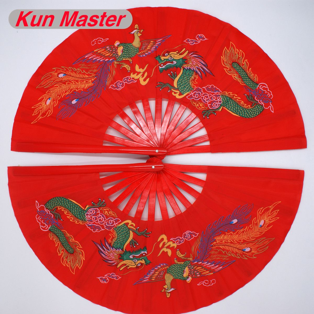 Bamboo Double Left And Right  Tai Chi Fan  Martial Arts Fan Kung Fu Fans China Dragon And Phoenix Pattern Red Cover