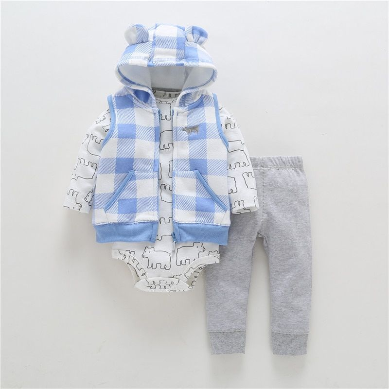 3 <font><b>Pieces</b></font> Set Clothes Hooded Zipper Full Sleeve Open Newborn Baby Boy Girlsstitch Coat+full Sleeve Bodysuits+floral Print Pants