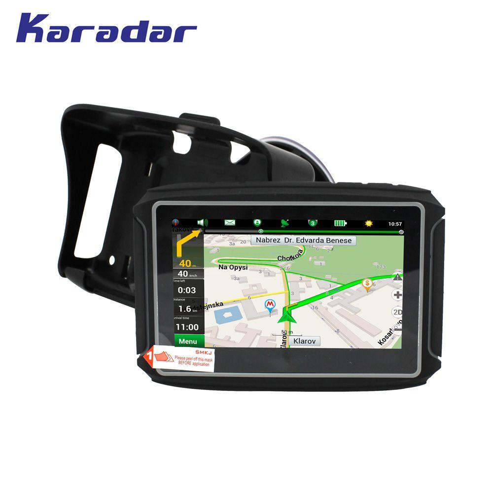 KARADAR Waterproof Motorcycle GPS - 4.3 Inch Win CE 6.0 Car GPS Navigator - Built-in 8GB Flash DDR256 with Map-FM/Bluetooth