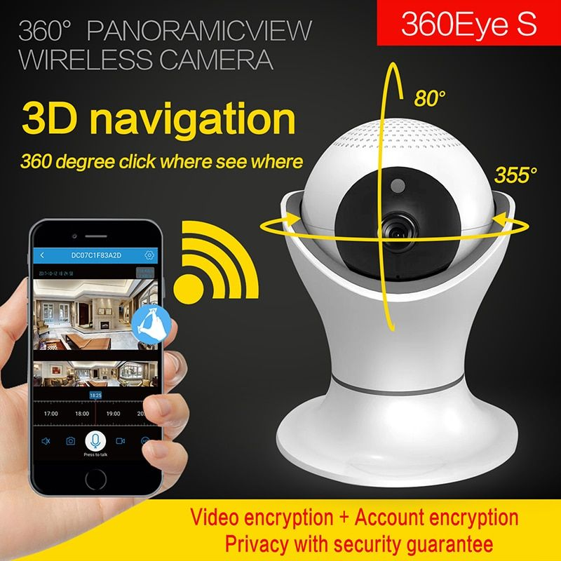 WIFI IP Camera 3D navigation Internet network HD video Wireless Home Security Surveillance 360 fish Eye CCTV Baby Monitor 2.0MP
