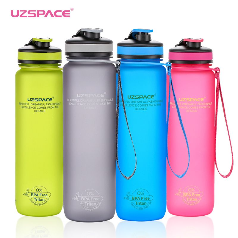 UZSPACE 1L Sport Water BottleS Portable matte Tritan material outdoor travel with tea Infuser Plastic Drinkware My Drink bottle