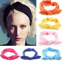 1 pc Femmes De Mode Élastique Stretch Plaine Lapin Arc Style Bande De Cheveux Bandeau Turban Bandeau cheveux accessoires