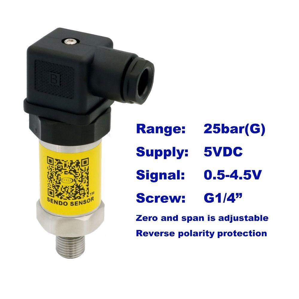 0.5-4.5V pressure sensor, 5VDC supply, 2.5MPa/25bar gauge, G1/4