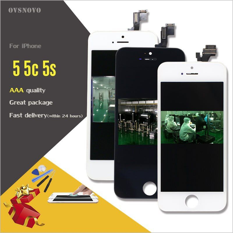 Ovsnovo LCD Screen for iPhone 4 5 5c 5s 6 Display Touch Glass Digitzer Replacement Check & Test One by One+tools+tempered glass