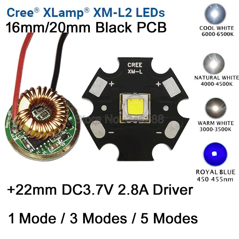 10W Cree XM-L2 T6 XML2 T6 LED Light 20mm Black PCB White Warm White Neutral White + 22mm 5 Modes Driver For DIY Torch Flashlight
