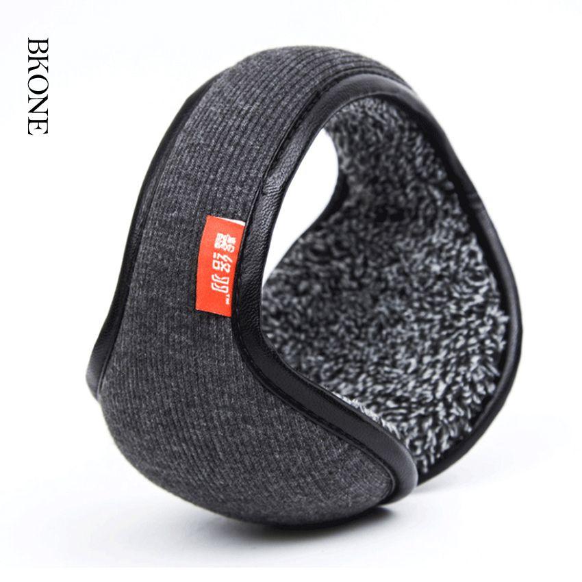 Winter Earmuffs Warm Wool Knitted Ear Warmer Foldable Faux Cashmere Ear Muff Ear Cover Bag Back Wear Earflap for Men Women
