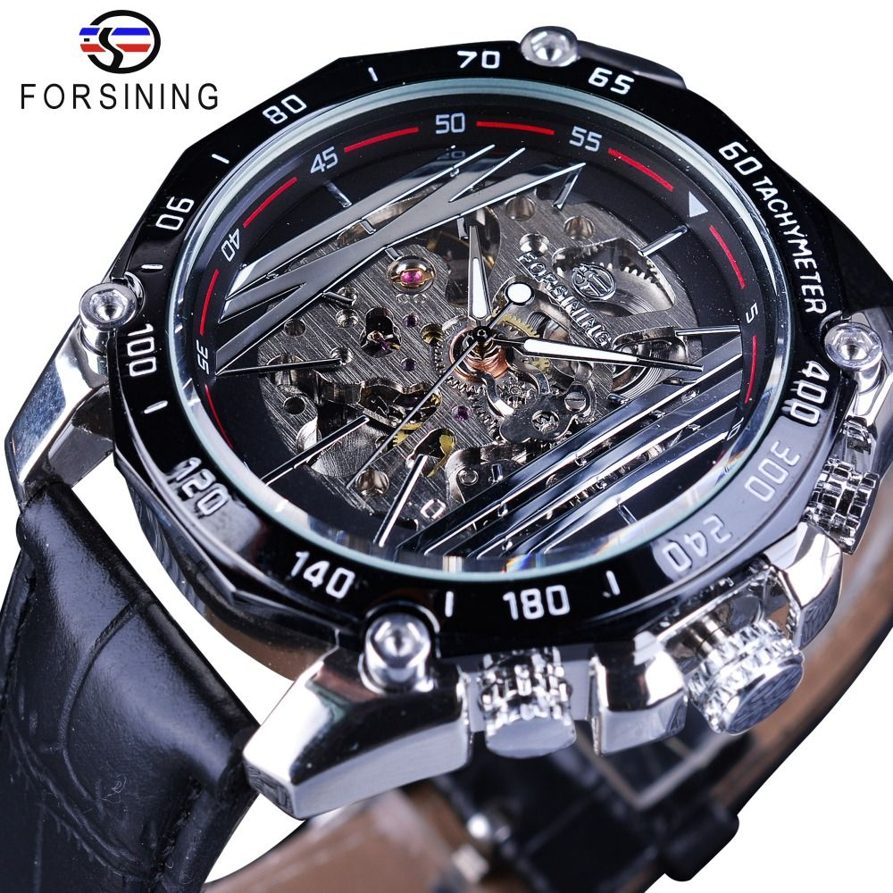 Forsining Mechanical Steampunk Series Men Military Sport Watch Transparent Skeleton Dial Automatic Watch Top Brand Luxury Clock