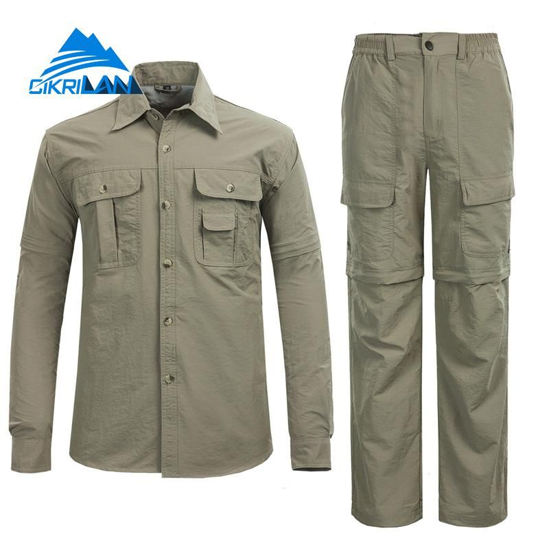 Hot Camping Climbing Fishing Clothing Suit Men Lightweight Trekking Anti-uv Sunscreen <font><b>Quick</b></font> Dry Hiking Outdoor Shirt Pants Sets