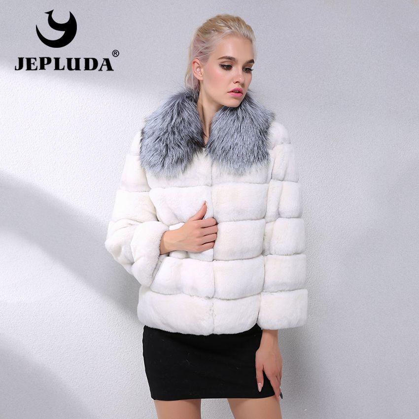 JEPLUDA Mode Natürliche Rex Kaninchen Fell Mantel Kurze Fuchs Pelz Kragen Winter Echt Pelzmantel Frauen Leder Jacke Dicke Warme pelz Jacke
