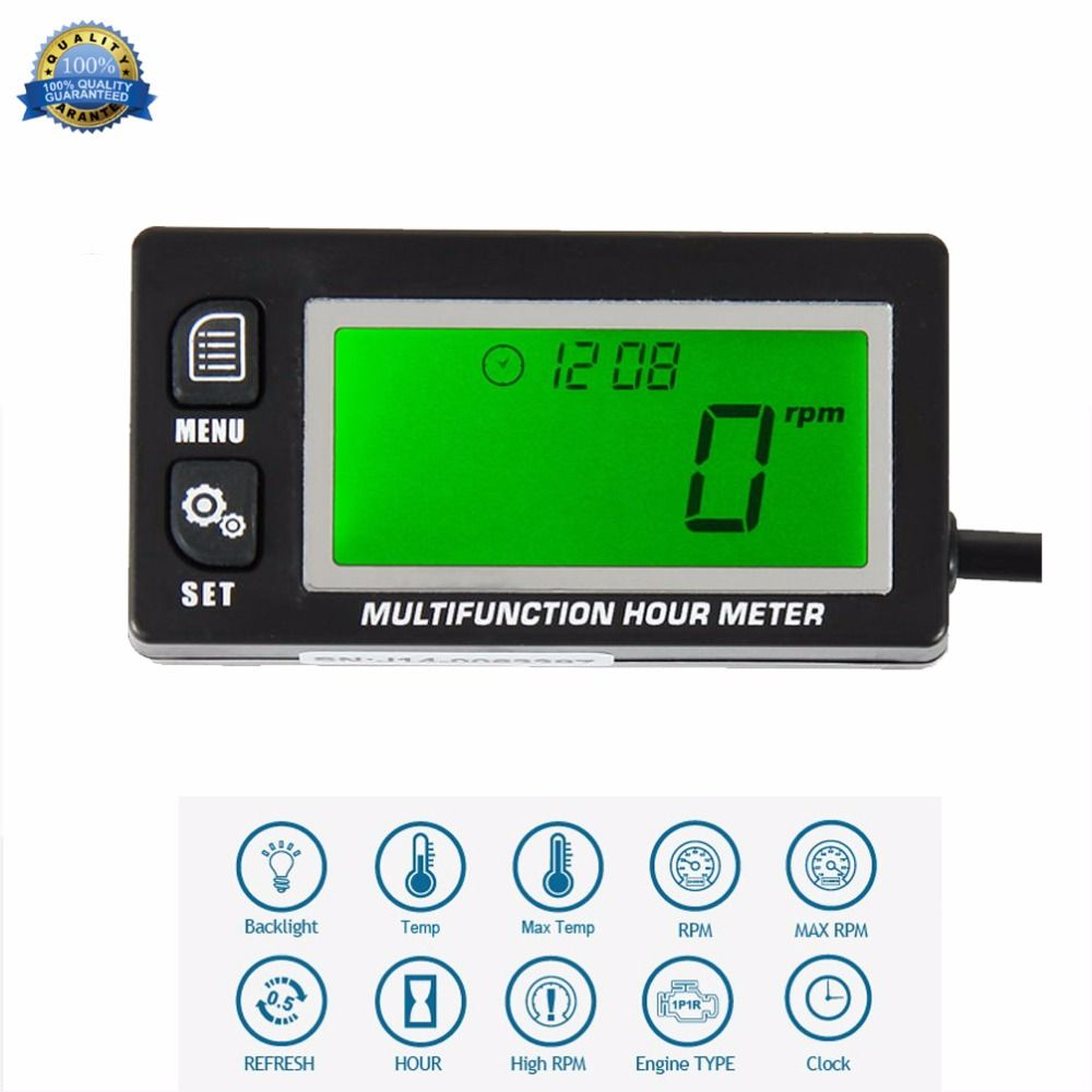 Inductive Temperature TEMP METER Thermometer Tach/Hour Meter for motorcycle snowmobile ATV RL-HM028A
