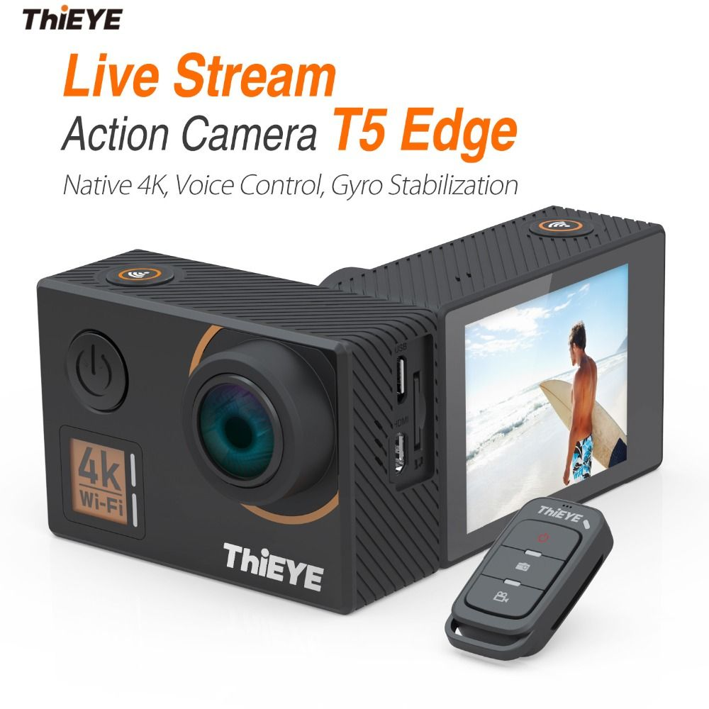 ThiEYE T5 Edge With Live Stream Real 4K Ultra HD Action Camera with Gyro Stabilizer, Voice Control Underwater Sports Mini Camera