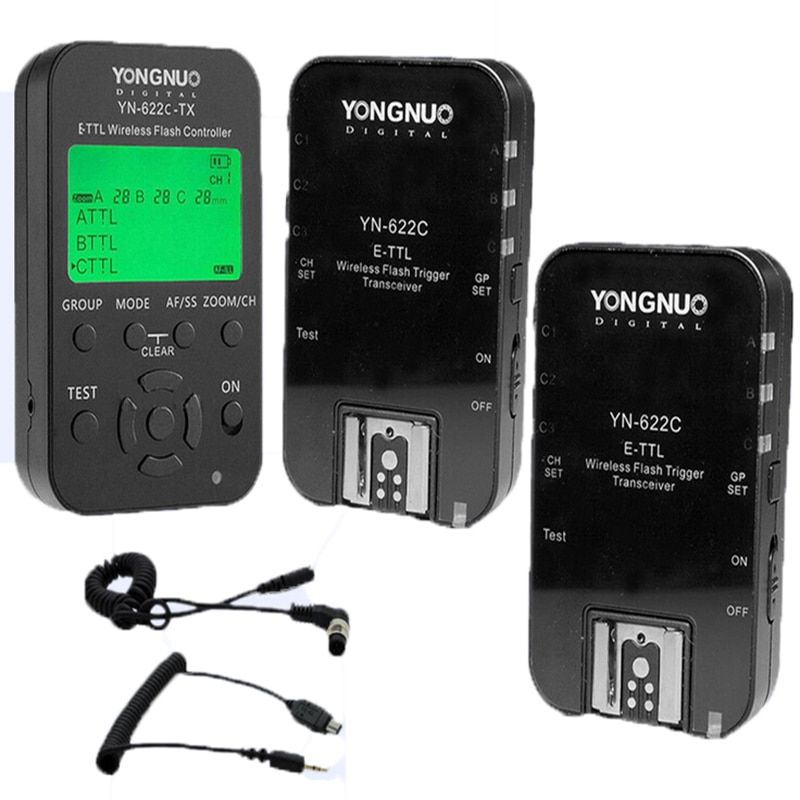 YONGNUO Wireless TTL Flash Trigger YN622 YN-622C II C-TX KIT with High-speed Sync HSS 1/8000s for Canon Camera 500D 60D 7D 5DIII