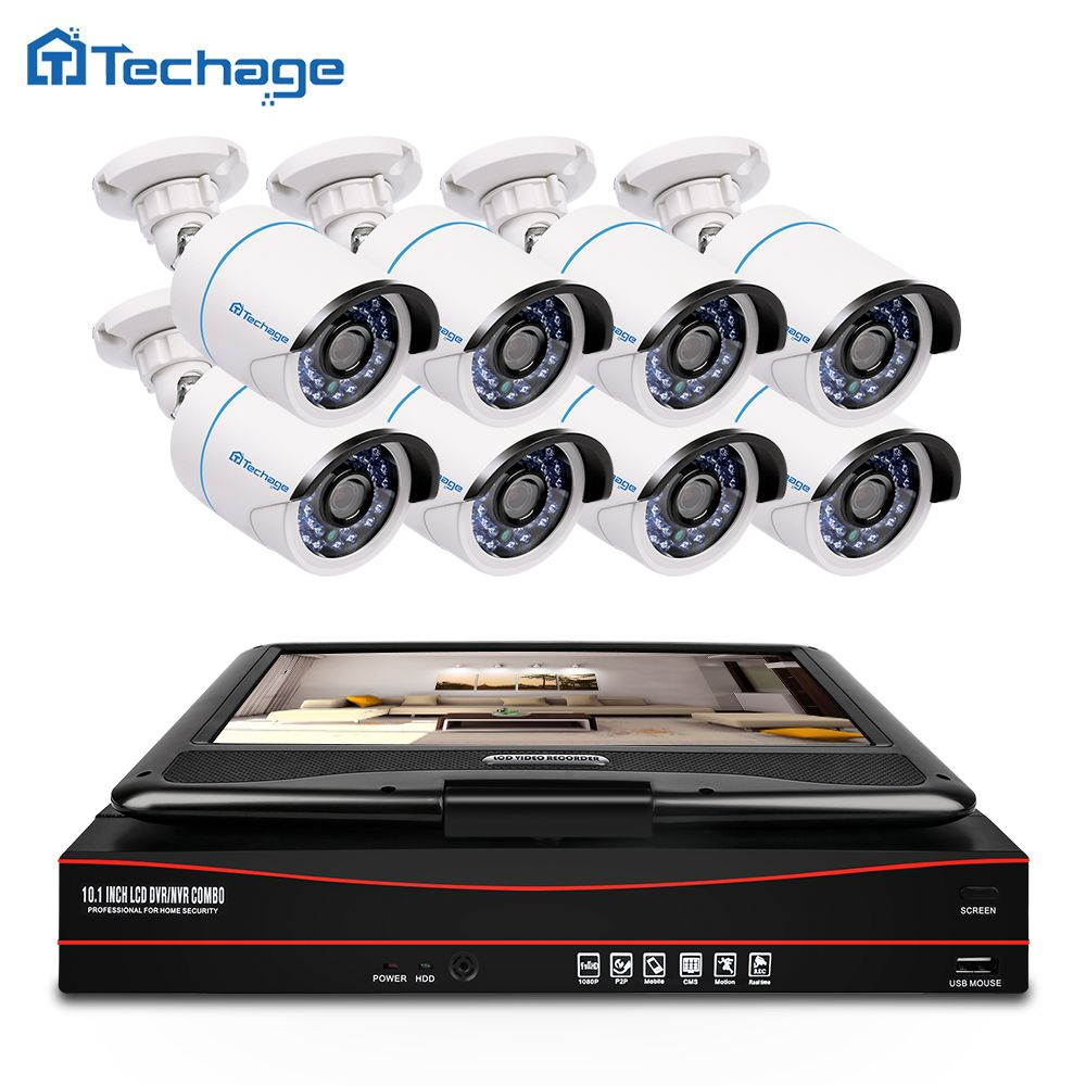 Techage 8CH 1080P CCTV System POE NVR Kit with 10.1 LCD Monitor Screen 8PCS Outdoor PoE IP Camera Security Surveillance Kit