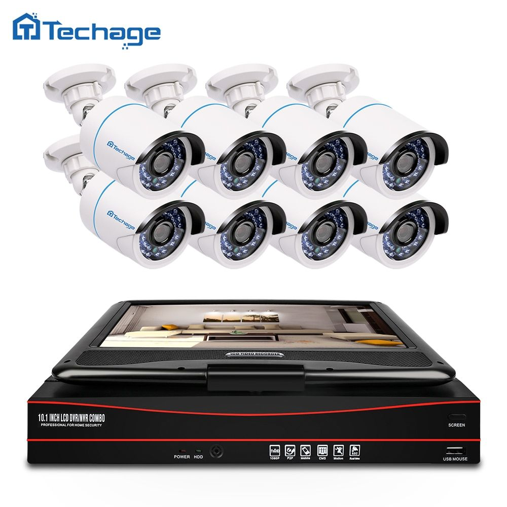 Techage 8CH 1080P CCTV System POE NVR Kit with 10.1