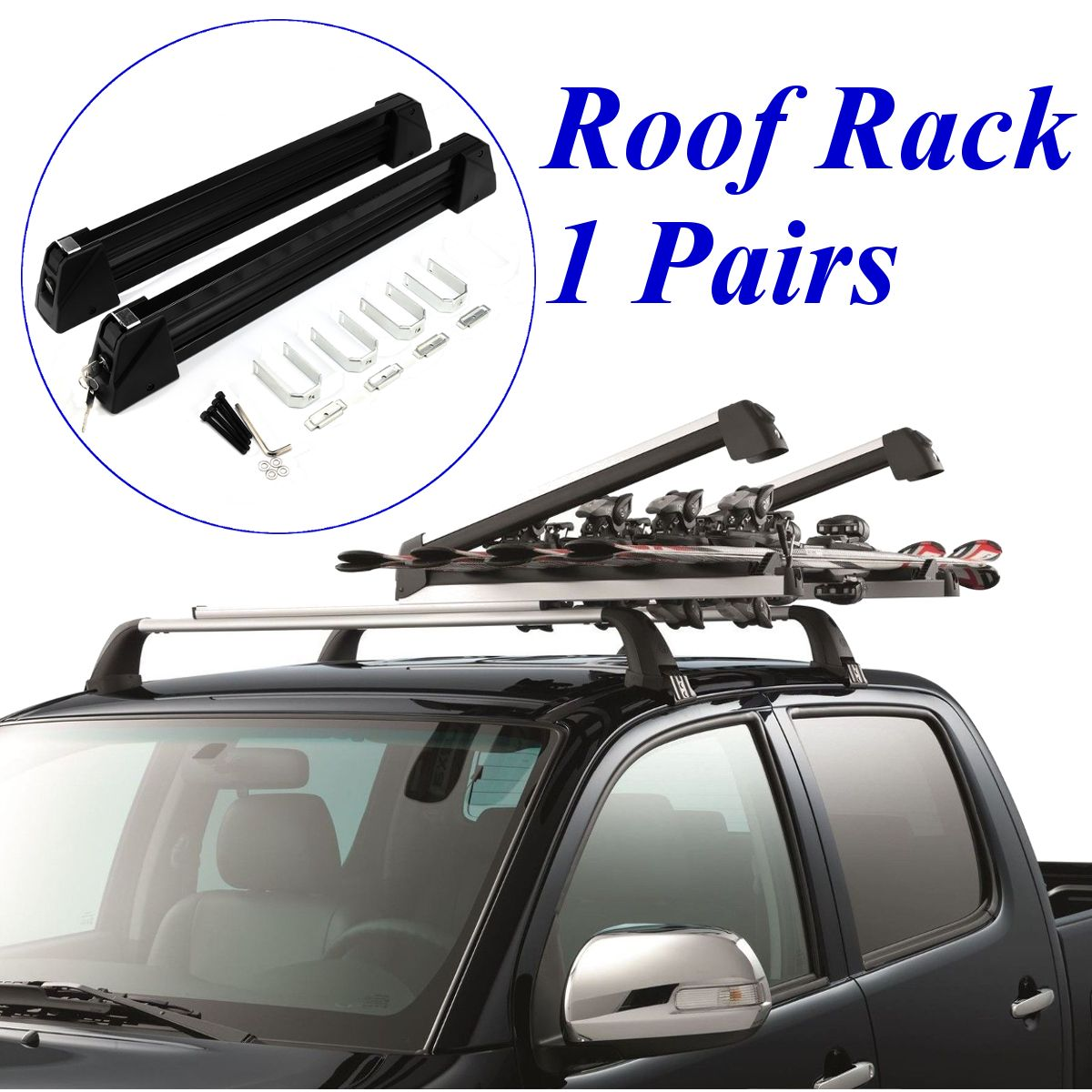 1 Pair Aluminum Alloy Car Auto Luggage Stand Roof Rack Lockable Ski Snow Board Carrier Holders Roof Rack Mounted Max Load 70Kg