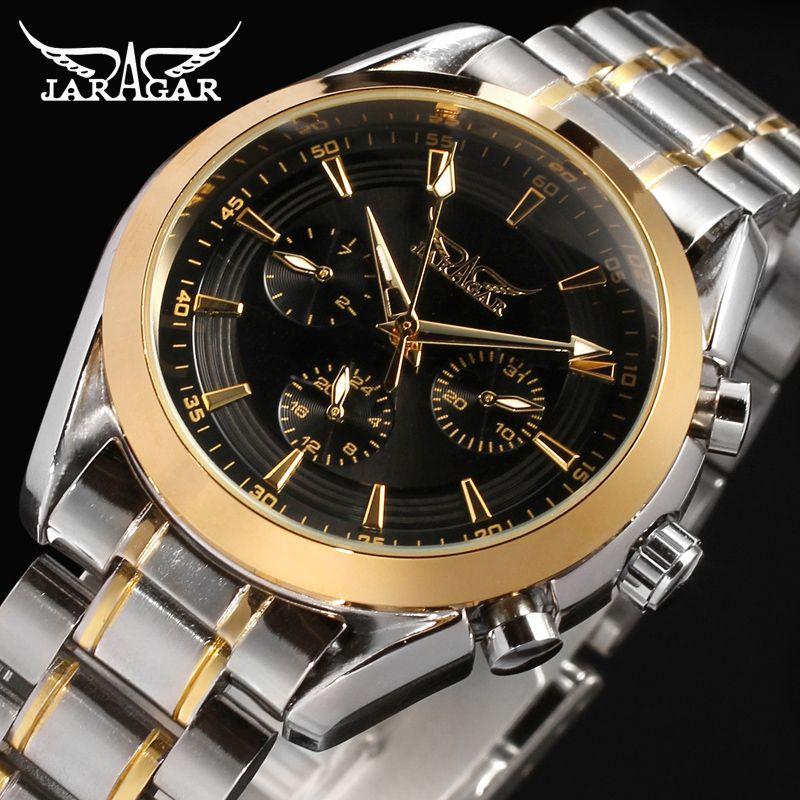 Jaragar Watches Men Automatic Mechanical Watch Stainless Steel Strap Men's Wristwatches relogio automatic masculino watch