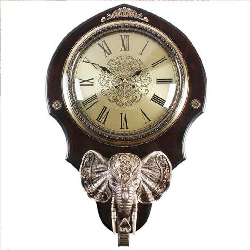 Retro-vintage elefanten holz uhren und uhren in die wohnzimmer Uhr Dekoration Wand Uhr Stumm wanduhr