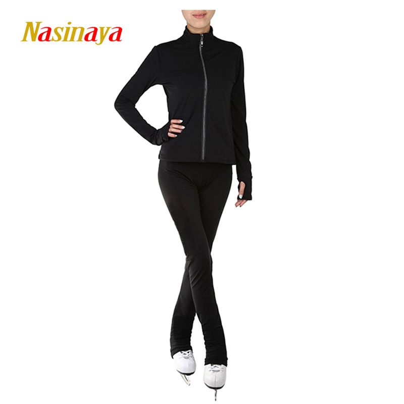 Customized Clothes Ice Skating Figure Skating Suit Jacket And Pants Rolling Skater Warm Fleece Adult Child Girl Solid Black