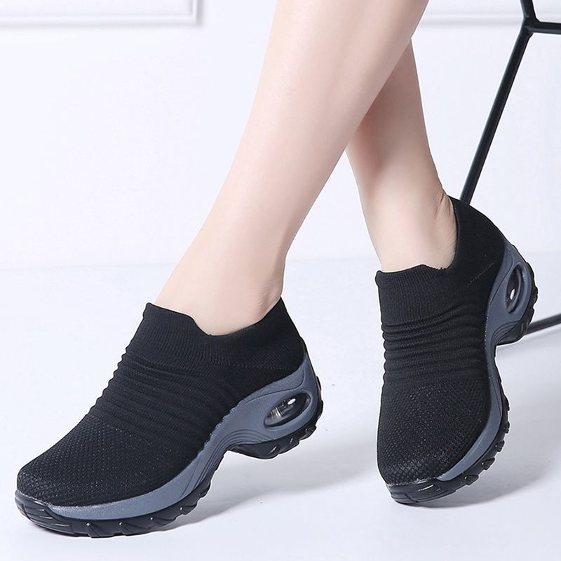 Women summer sneakers sock shoes ladies flats platform breath mesh slip on tenis feminino chaussure femme creepers shoes 1839