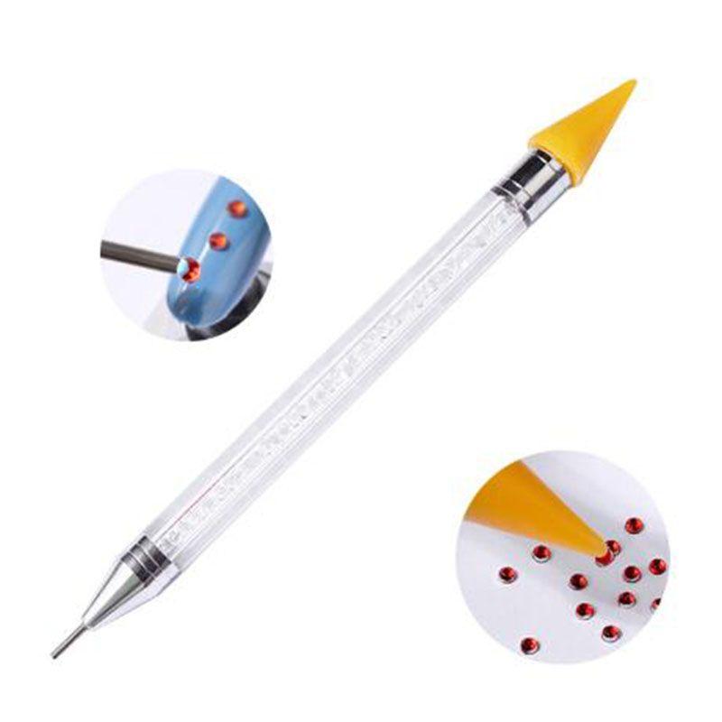 Dual-ended Nail Dotting Pen Crystal Beads Handle Rhinestone Studs Picker Wax Pencil Manicure Nail Art Tool LK1