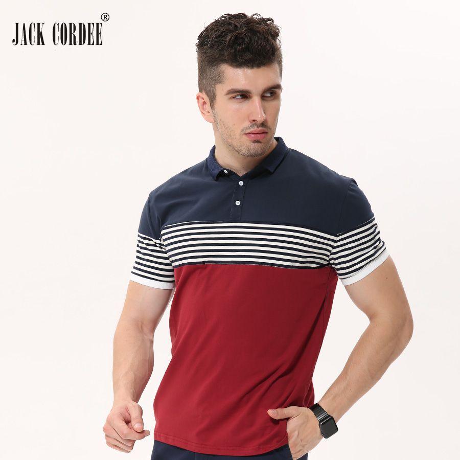 JACK CORDEE 2017 Sommermode Polohemd Männer Patchwork Striped Kurzarm Baumwolle Casual Polos Homme Plus Größe Marke Kleidung