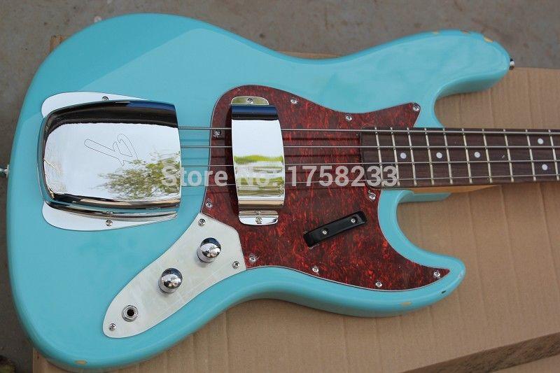 . Free shipping High Quality Custom body mahogany body 4 string FD Signature Sky blue Jazz Bass guitar