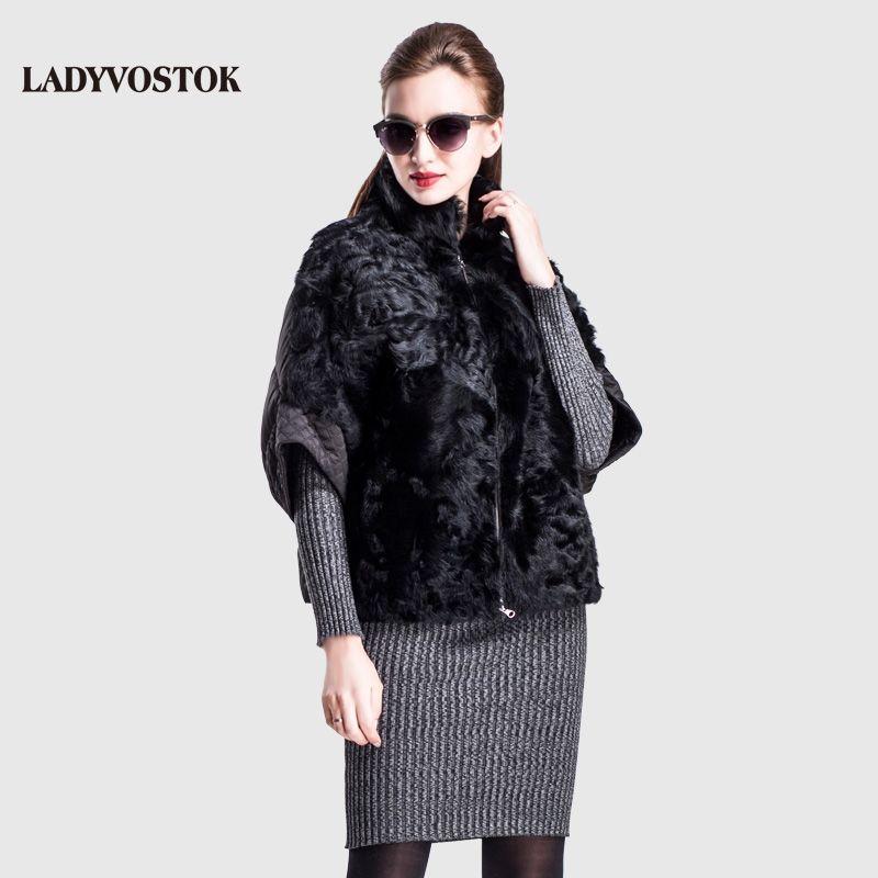 LADYVOSTOK winter women Jacket woman coat fur lambs FemaleZipper Style Bat Furskins Short Trendy Warm casual clothes 16-A555B