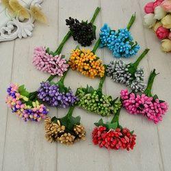 12 unids estambre azúcar hecho a mano flores artificiales barato decoración de la boda DIY wreath regalo de la costura de scrapbooking flor falsa
