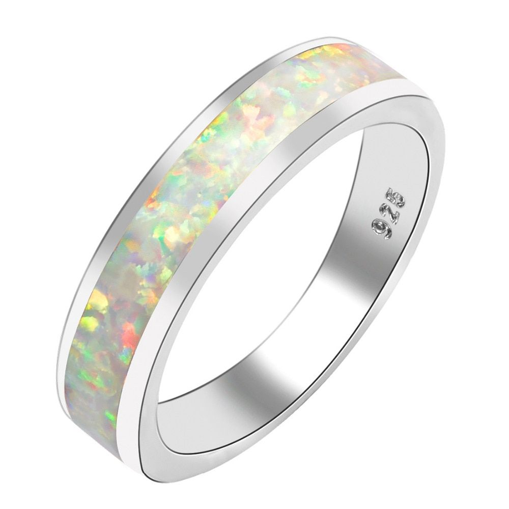 White Fire Opal Women 925 Sterling Silver Ring A27 Size 6 7 8 9 10
