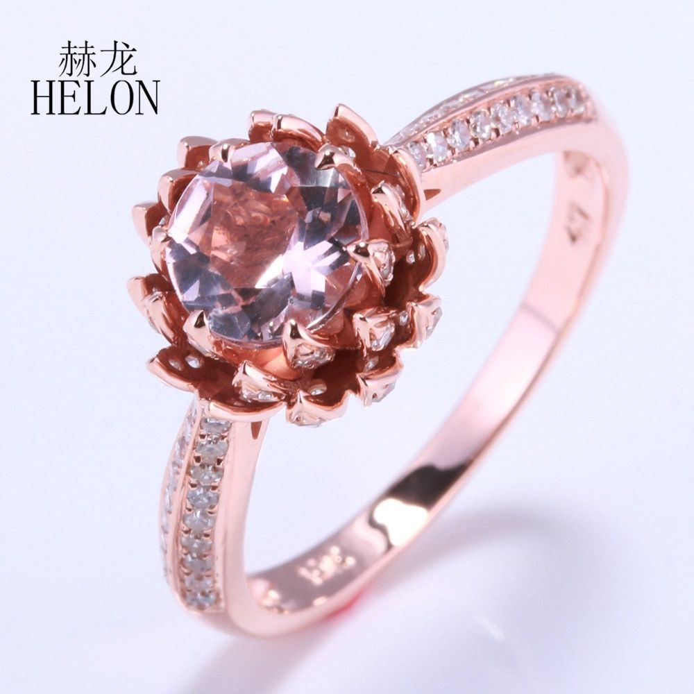 HELON Solid 14k Rose Gold Flawless 6mm Round Cut 0.75ct Morganite 0.41ct Natural Diamond Wedding Ring Lotus Flower Women Jewelry