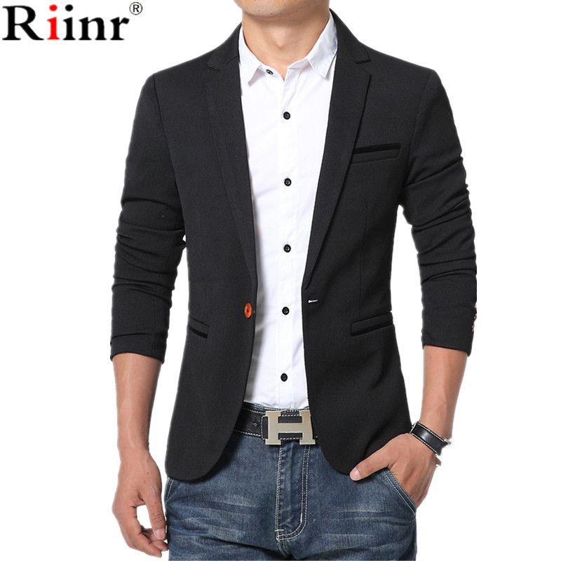 Riinr Neue Ankunft Luxus Männer Blazer Neue Frühlingsmode Marke hohe Qualität Baumwolle Slim Fit Männer Anzug Terno Masculino Blazer männer