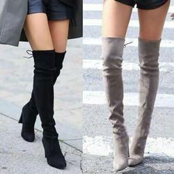 Faux Suede Slim Boots Sexy sobre la rodilla mujeres moda invierno muslo botas altas Zapatos mujer