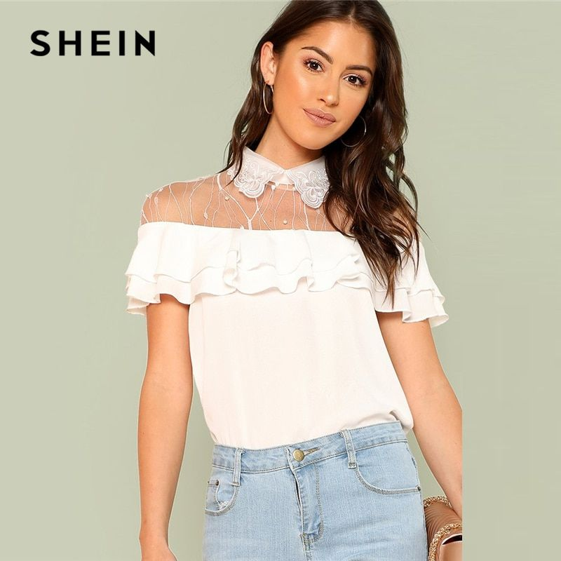 SHEIN Pearl Embellished Mesh Yoke Tiered Blouse 2018 Summer <font><b>Stand</b></font> Collar Sleeveless Ruffle Top Women White Pearls Elegant Blouse