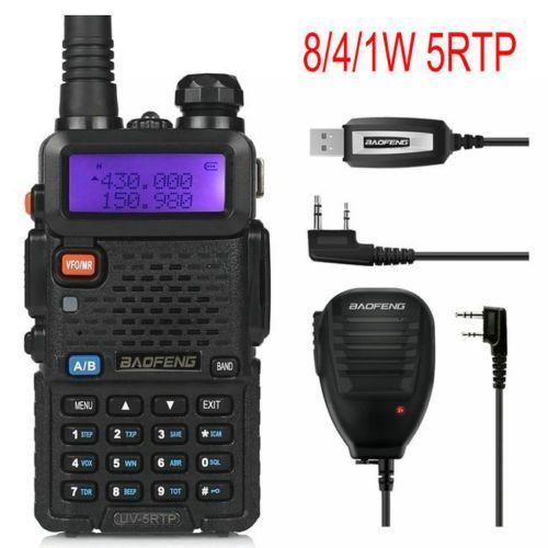 Baofeng UV-5RTP 136-174/400-520 MHz Dual-Band FM1/4/8 W Deux-façon jambon Radio Talkie Walkie avec Télécommande Haut-Parleur Câble de Programmation