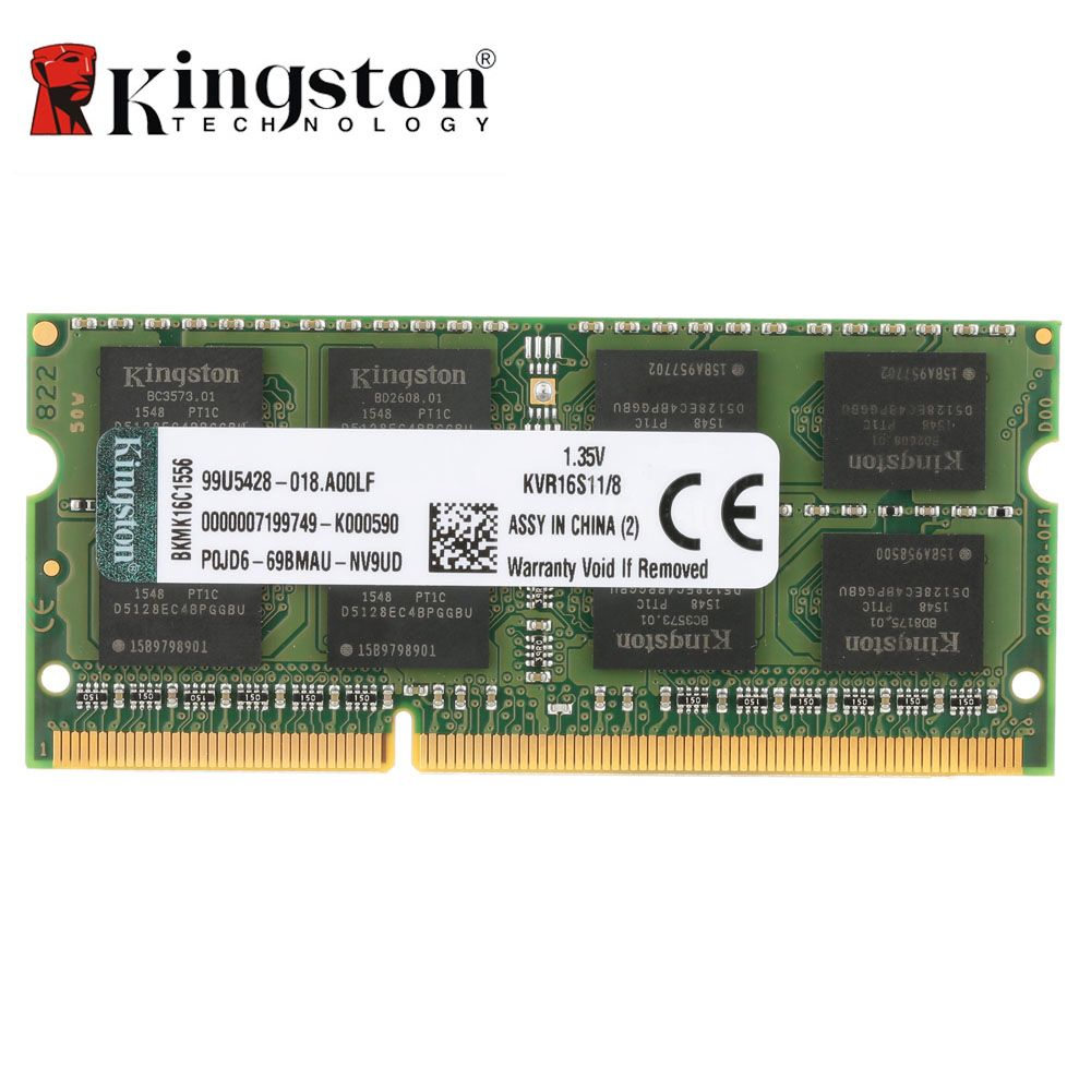 Kingston Genuine Original KVR Notebook RAM 1600MHz 4GB 8GB 1.35V DDR3 PC3L-12800 CL11 204 Pin SODIMM Motherboard Memory