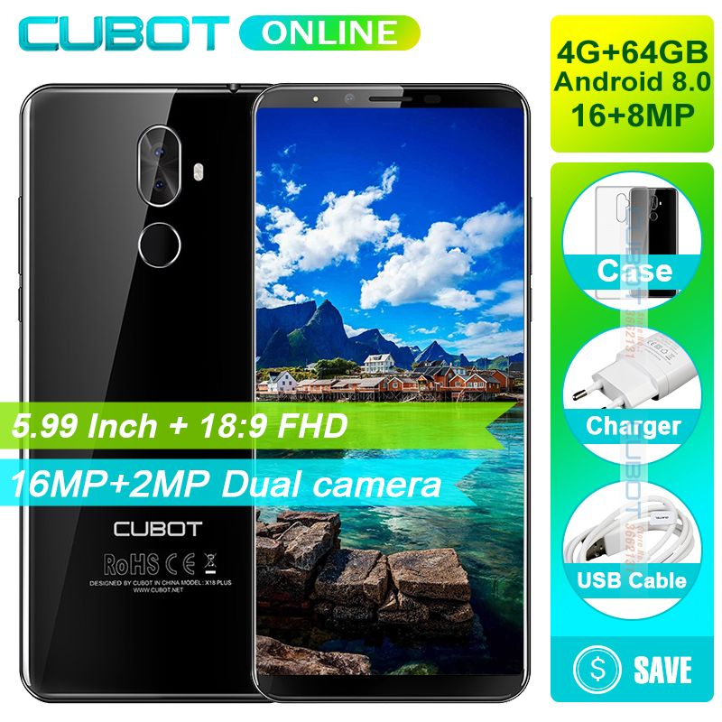 <font><b>Cubot</b></font> X18 Plus 18:9 FHD+ 4GB 64GB 5.99 Inch Smartphone Android 8.0 MT6750T Octa-Core 16MP+2MP Rear Cameras Mobile Phone