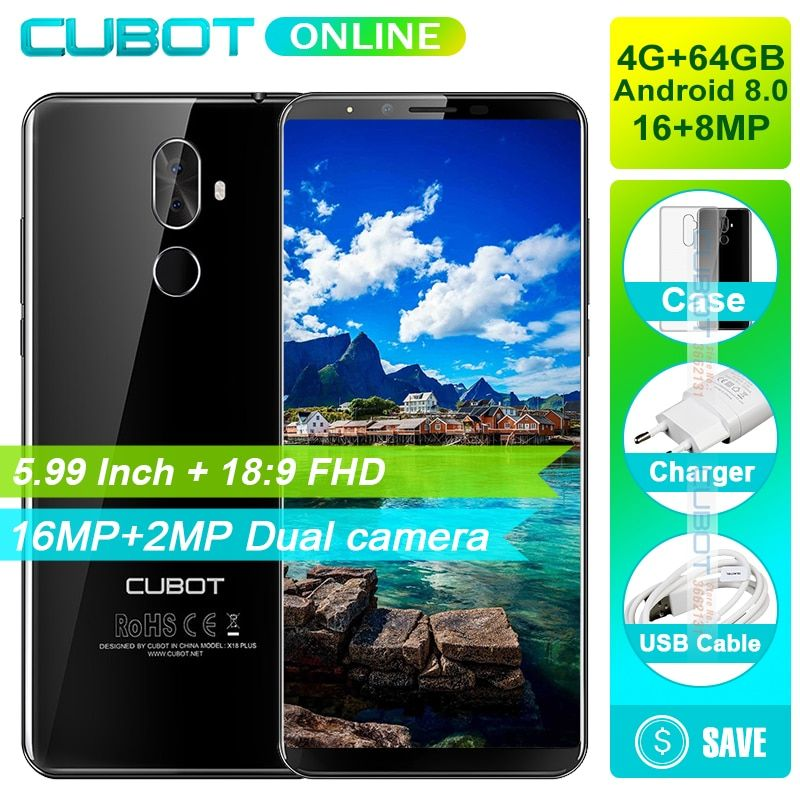 Cubot X18 Plus 18:9 FHD+ 4GB 64GB 5.99 Inch Smartphone Android 8.0 MT6750T Octa-Core 16MP+2MP Rear Cameras Mobile Phone