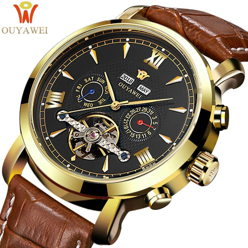 OUYAWEI Mechanical Watches Men Top Brand Luxury Automatic Watch Men Clock Wrist Watch For Men Leather Watch Relogio Masculino
