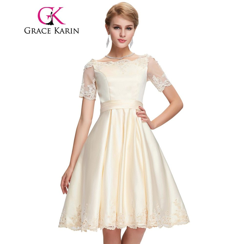 Grace Karin Champagne Dark Red Cocktail Dress Short Sleeve Satin Ball Gown Robe De Cocktail Bandage Party Short Prom Dress 2017