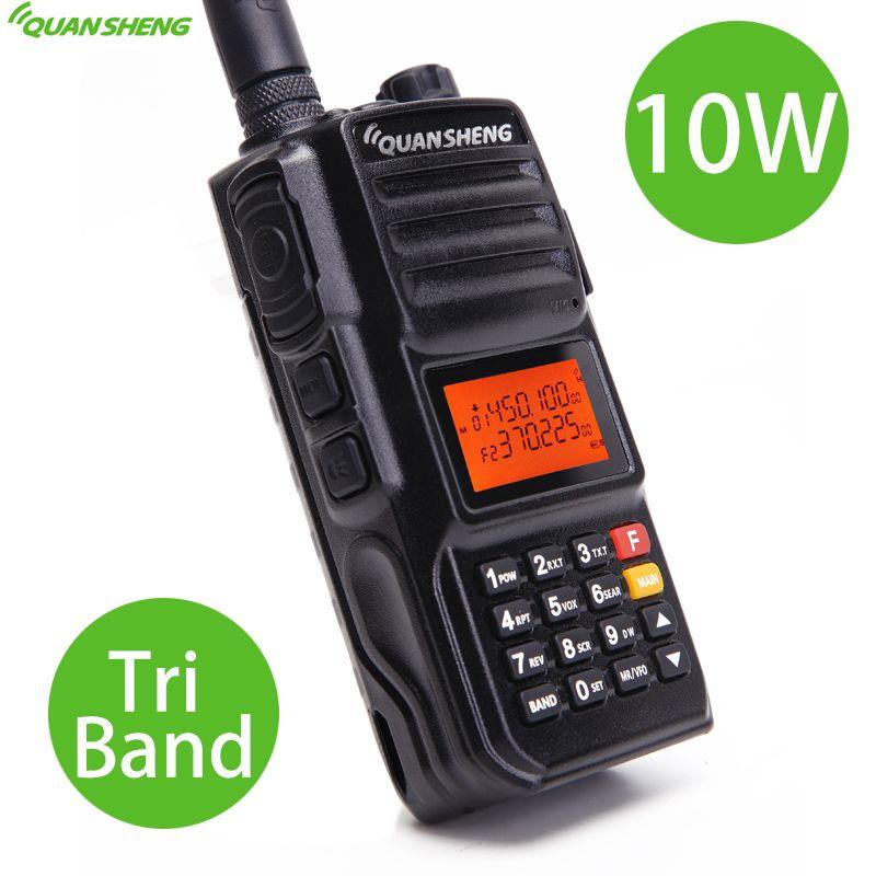 Quansheng TG-UV2 PLUS High Power 10W Tri-Band 136-174MHz/Police 350-390MH/400-470MHz 4000mAh 10KM Long Range 200CH Walkie Talkie