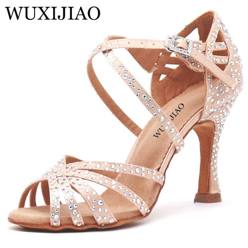 WUXIJIAO femmes chaussures de danse de fête Satin brillant strass fond souple chaussures de danse latine femme chaussures de danse Salsa heel5CM-10CM
