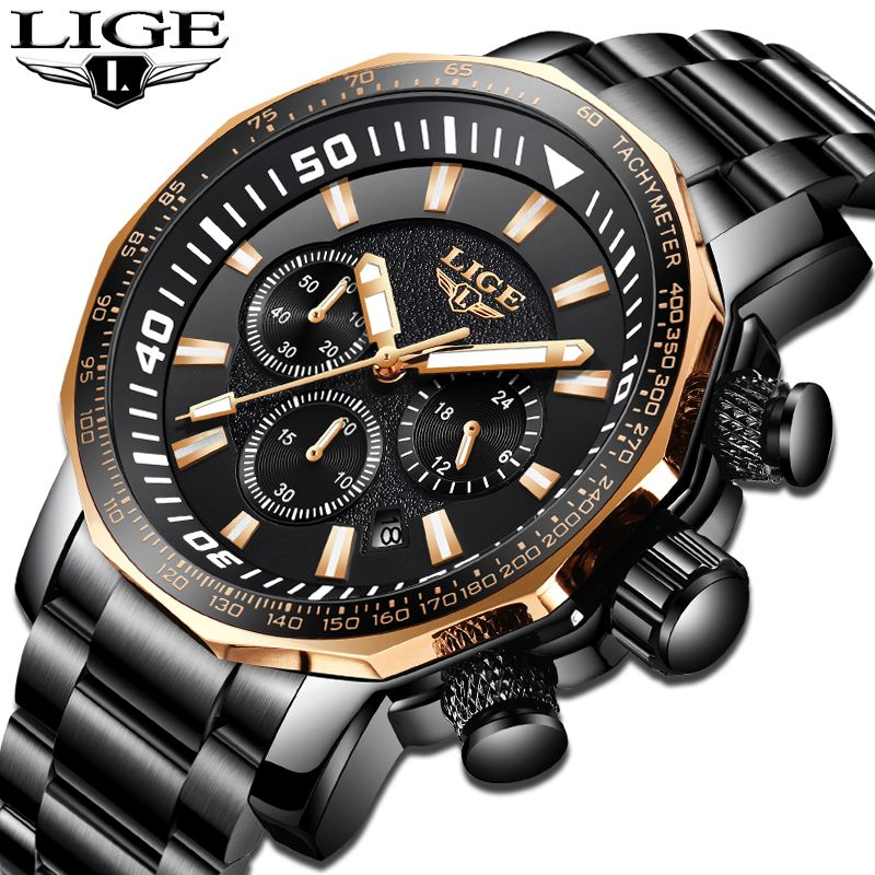 Mens Watches LIGE Top Brand Luxury Men's Waterproof Military Sports Watch Men's Stainless Steel Quartz Clock Relogio Masculino